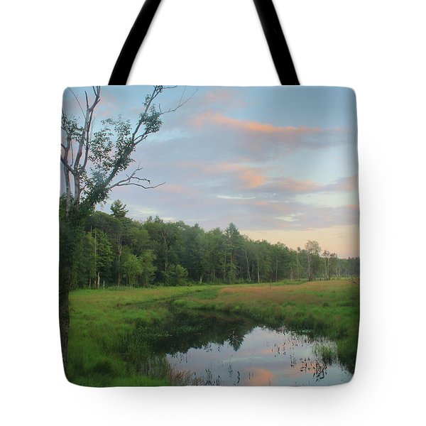 Swift River Sunset Tote Bag by John Burk