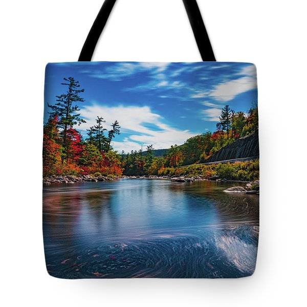 Tote Bag featuring the photograph Swift River Swirls by Chris Lord