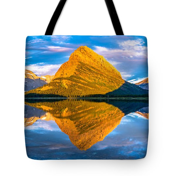 Swiftcurrent Lake Sunrise Panorama Tote Bag