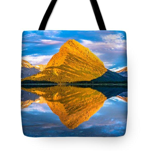 Swiftcurrent Lake Sunrise Panorama Tote Bag by Dustin  LeFevre
