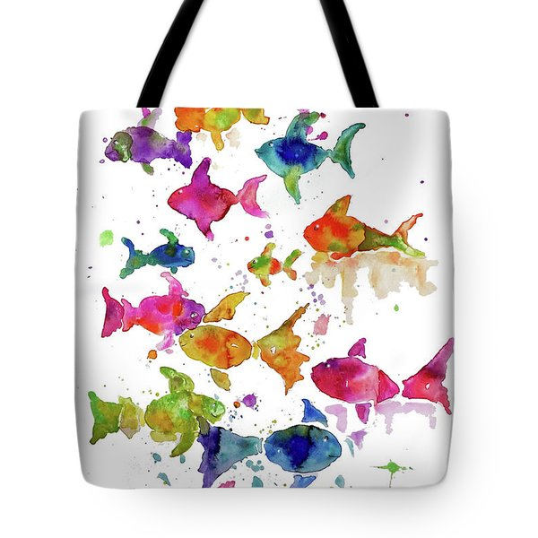 Tote Bag featuring the painting Swim To The Beat by Rosemary Aubut