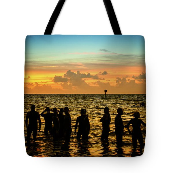 Swimmers Sunrise Tote Bag