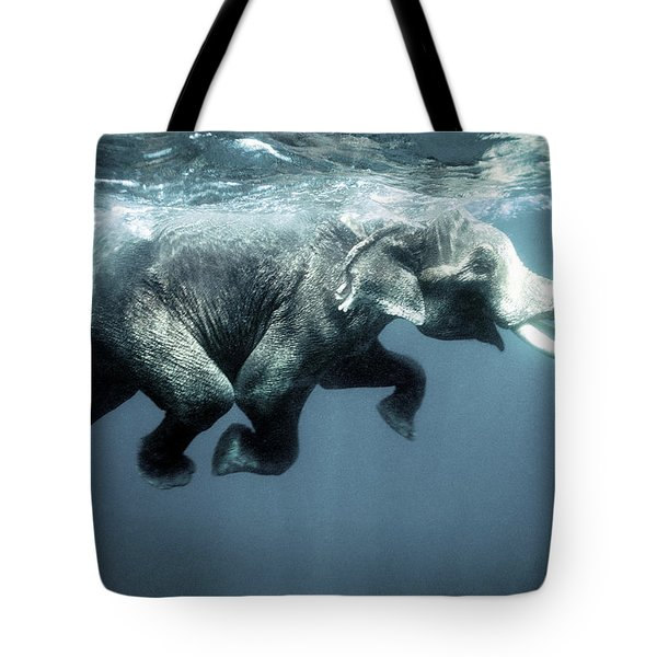 Swimming Elephant Tote Bag