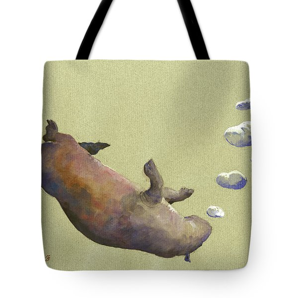 Swimming Hippo With Bubbles Tote Bag