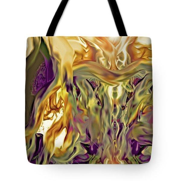 Tote Bag featuring the digital art Swimming Horses by Linda Sannuti