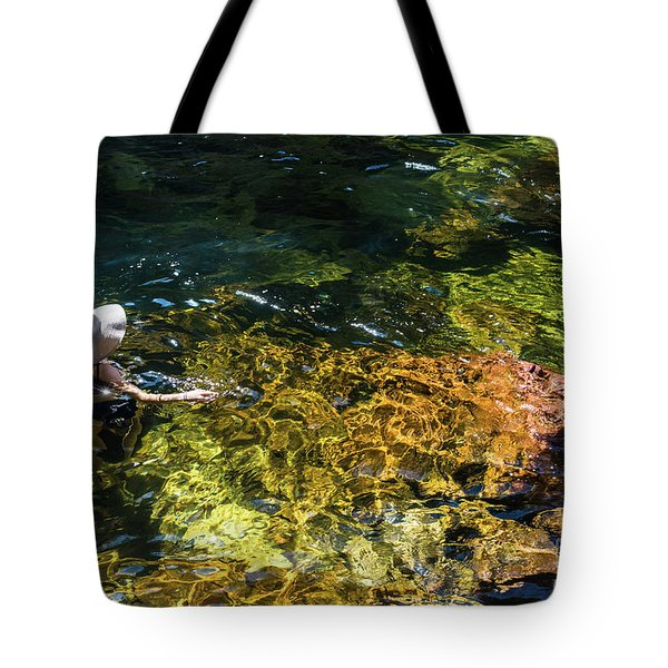 swimming in the Buley Rockhole waterfalls Tote Bag