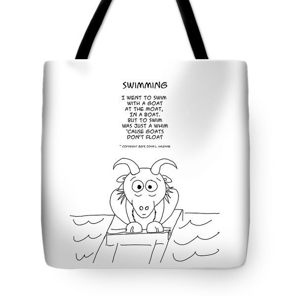 Tote Bag featuring the drawing Swimming by John Haldane