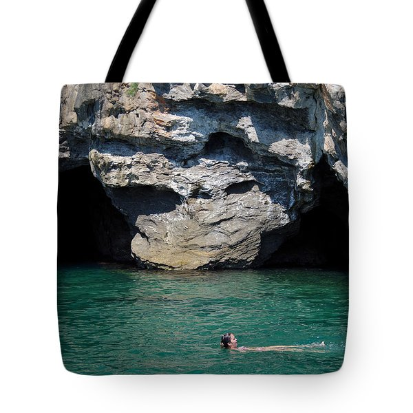 Swimming Near Caves Tote Bag