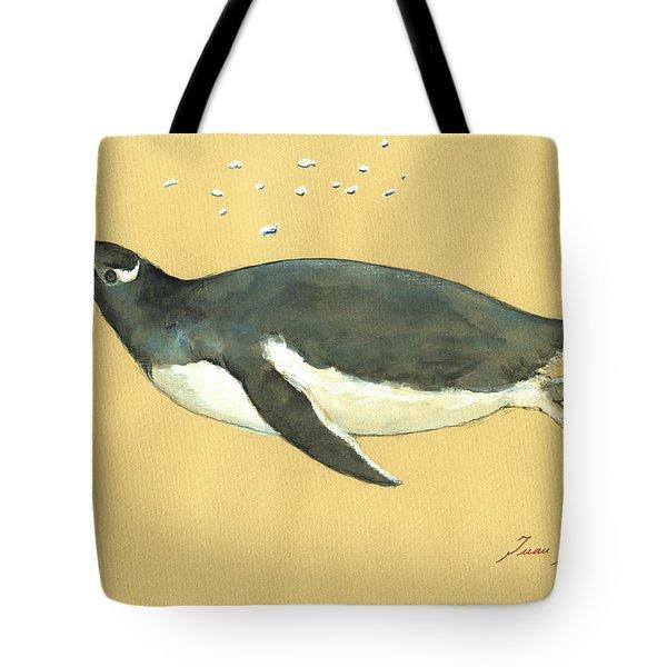 Swimming Penguin Tote Bag