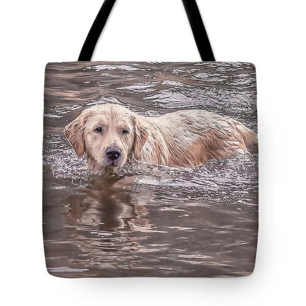 Swimming Puppy Tote Bag