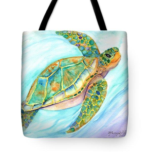Swimming, Smiling Sea Turtle Tote Bag