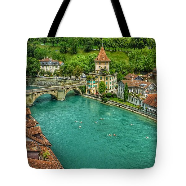 Tote Bag featuring the photograph Swimming The River Aare , Bern  by Connie Handscomb