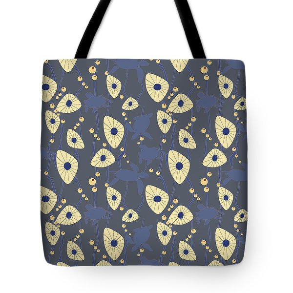 Tote Bag featuring the digital art Swimming Turtles Blue by April Burton