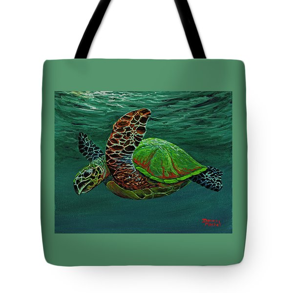 Tote Bag featuring the painting Swimming With Aloha by Darice Machel McGuire