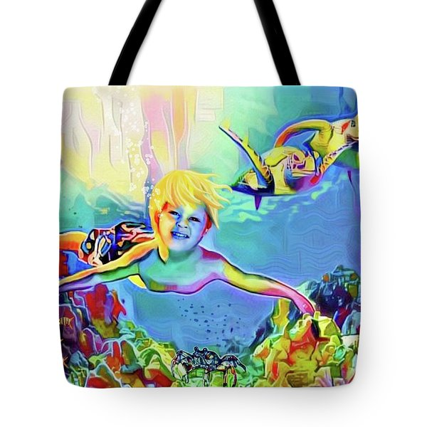 Swimming With Turtles Tote Bag