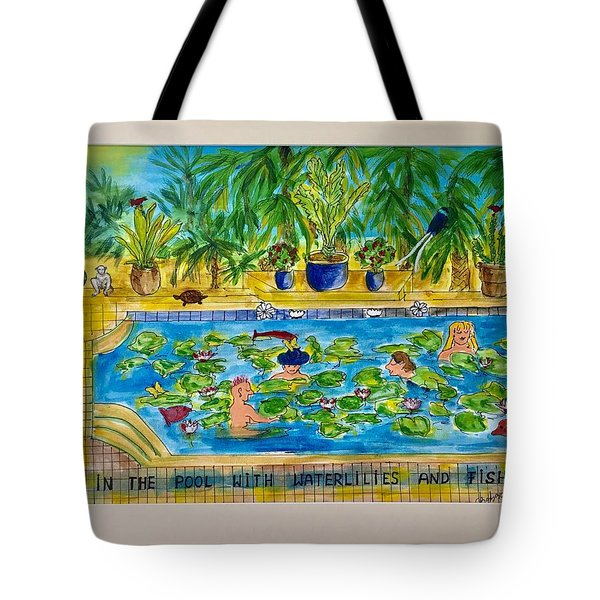 Swimming With Waterlilies And Fish Tote Bag