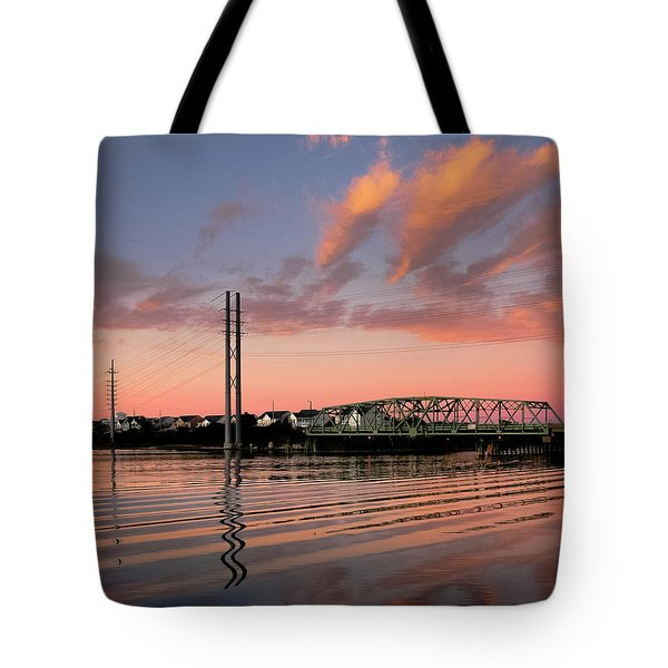 Swing Bridge At Sunset, Topsail Island, North Carolina Tote Bag by John Pagliuca