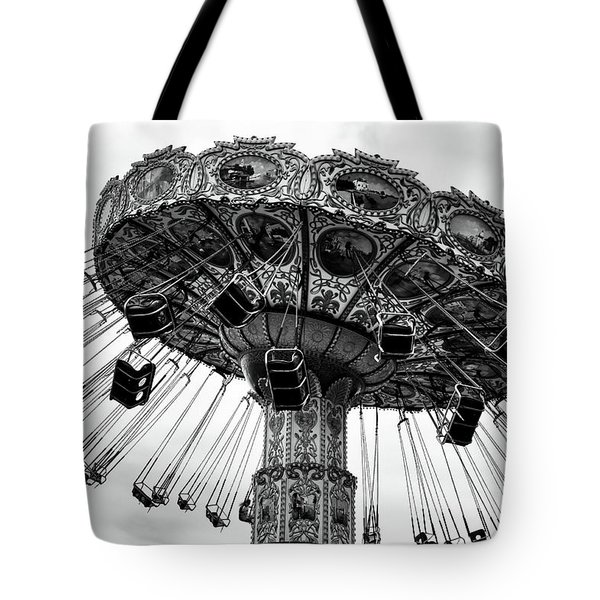 Swinging At Seaside Heights Mono Tote Bag by John Rizzuto