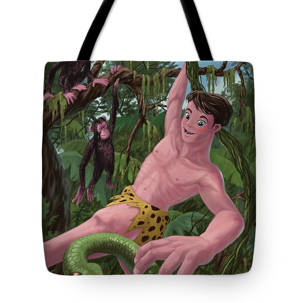 Swinging Boy Tarzan Tote Bag