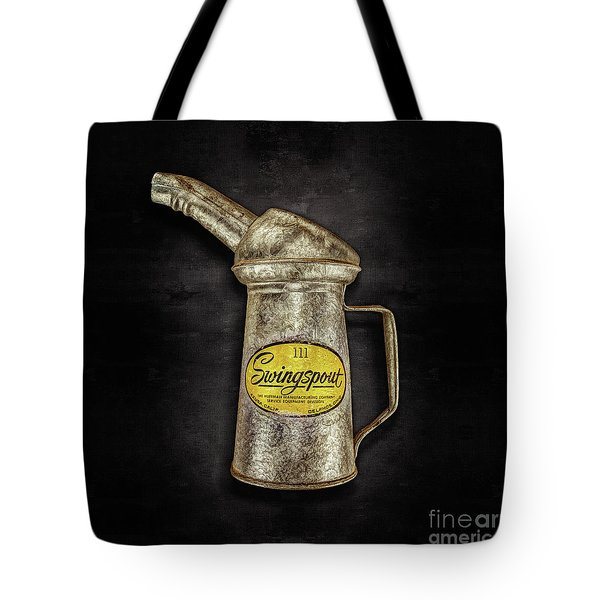 Swingspout Oil Can On Black Tote Bag