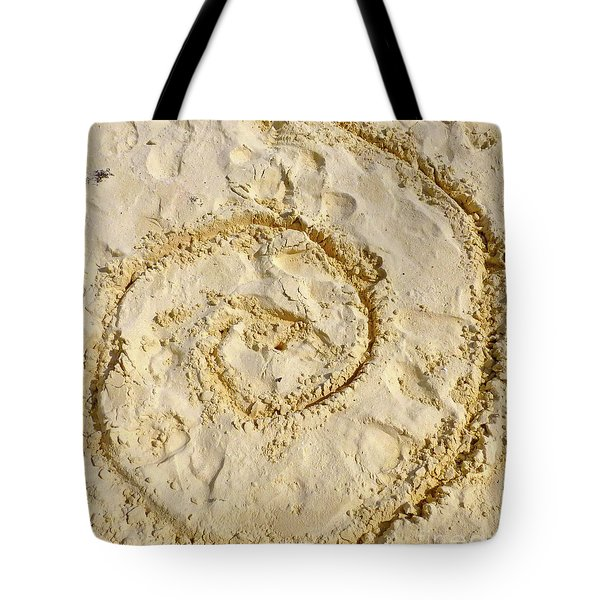 Tote Bag featuring the photograph Swirl Drawn In The Sand by Francesca Mackenney