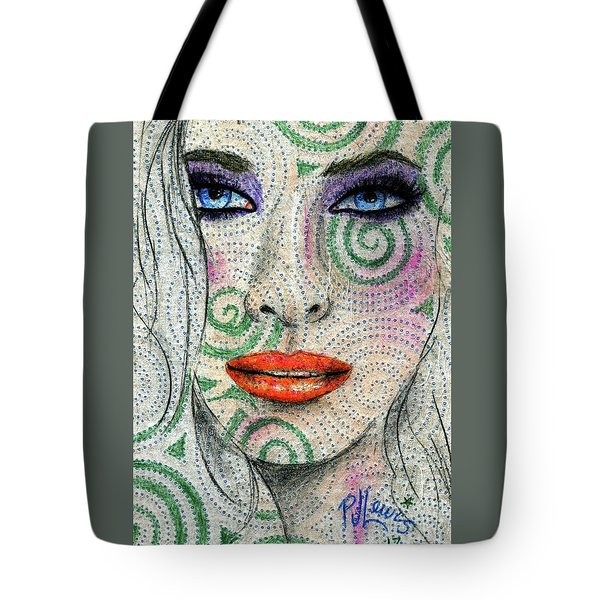 Tote Bag featuring the drawing Swirl Girl by P J Lewis
