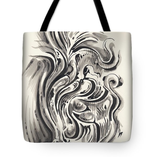 Tote Bag featuring the drawing Swirl by Keith A Link
