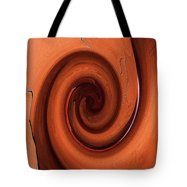 Tote Bag featuring the digital art Swirl Of Wood Tone Colors by Merton Allen