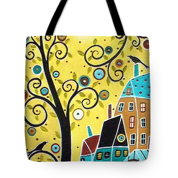 Swirl Tree Two Birds And Houses Tote Bag by Karla Gerard