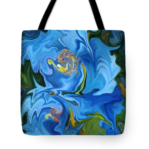 Swirled Blue Poppies Tote Bag by Renate Nadi Wesley