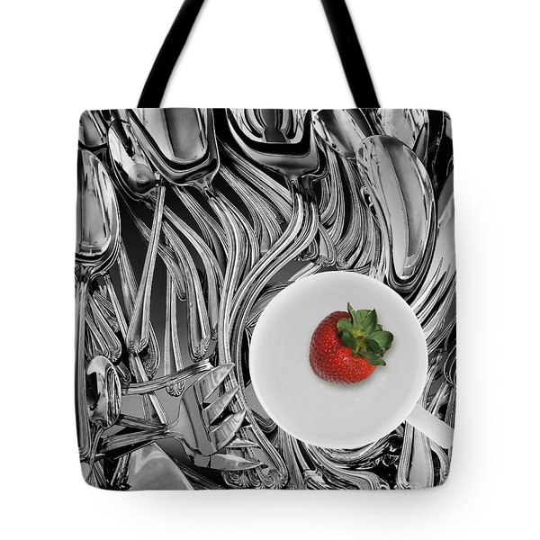 Swirled Flatware And Strawberry Tote Bag by Joe Bonita