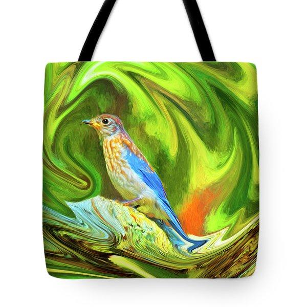 Swirling Bluebird  Tote Bag