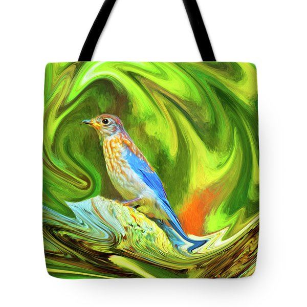 Swirling Bluebird Abstract Tote Bag
