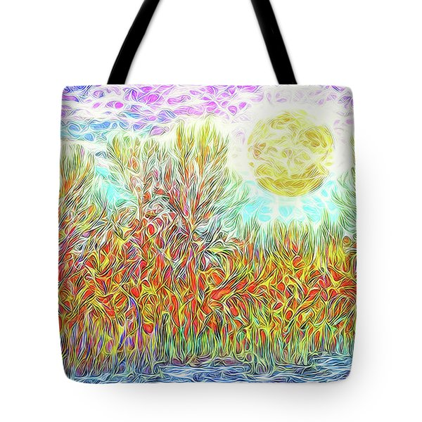 Tote Bag featuring the digital art Swirling Brilliant Trees - Boulder County Colorado by Joel Bruce Wallach