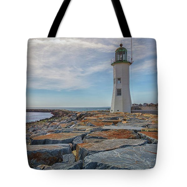 Swirling Clouds At Scituate Lighthouse Tote Bag