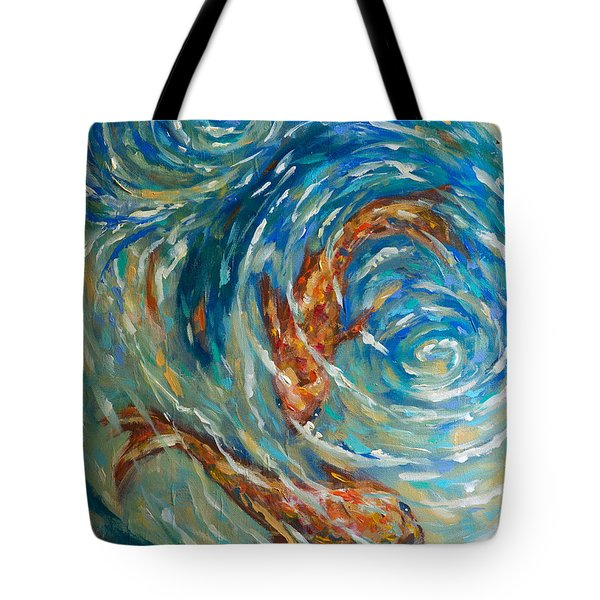 Tote Bag featuring the painting Swirling Waters by Linda Olsen