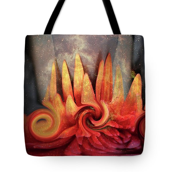 Tote Bag featuring the digital art Swirling World In Space by Linda Sannuti