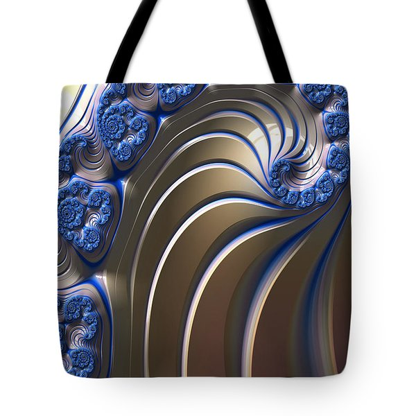 Tote Bag featuring the digital art Swirly Blue Fractal Art by Bonnie Bruno