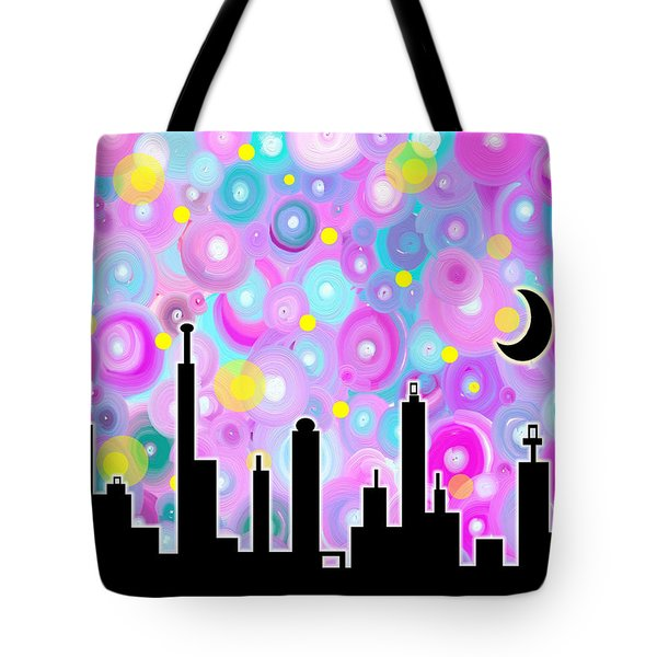 Tote Bag featuring the painting Swirly Metropolis by Shawna Rowe