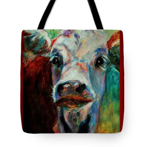 Tote Bag featuring the painting Swiss Cow - 1 by David  Van Hulst