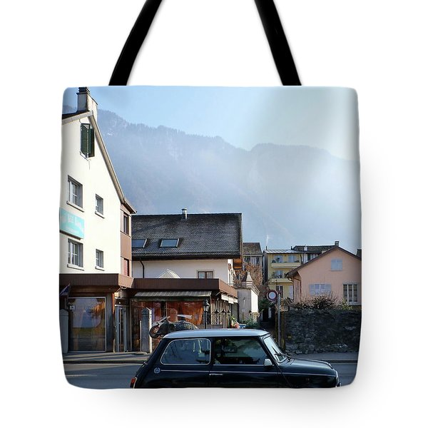 Tote Bag featuring the photograph Swiss Mini by Christin Brodie