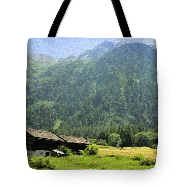 Tote Bag featuring the painting Swiss Mountain Home by Jeffrey Kolker