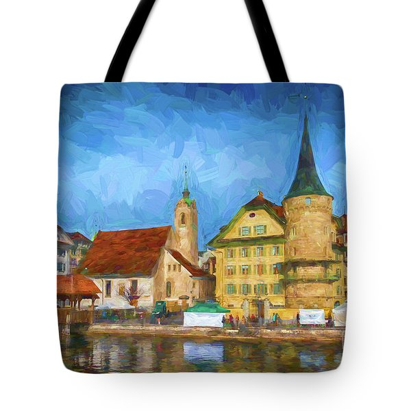 Swiss Town Tote Bag by Pravine Chester