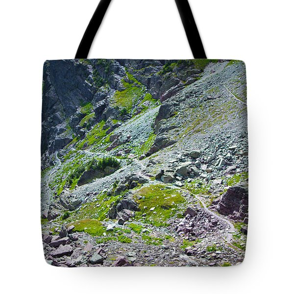 Switchbacks Below Comeau Pass Tote Bag