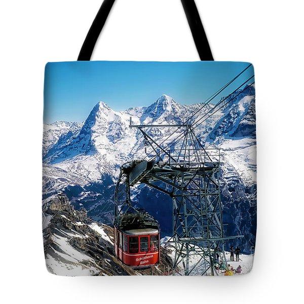 Switzerland Alps Schilthorn Bahn Cable Car  Tote Bag