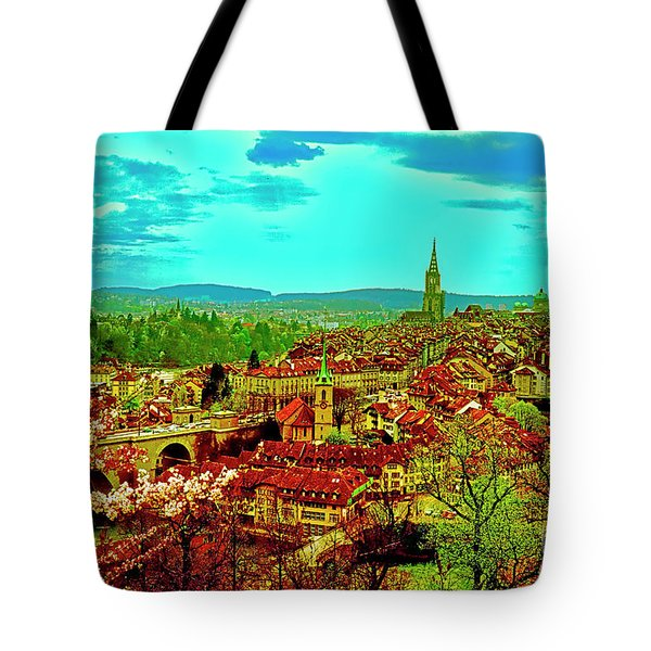 Tote Bag featuring the photograph Switzerland Bern City View Matte Aare River    by Tom Jelen