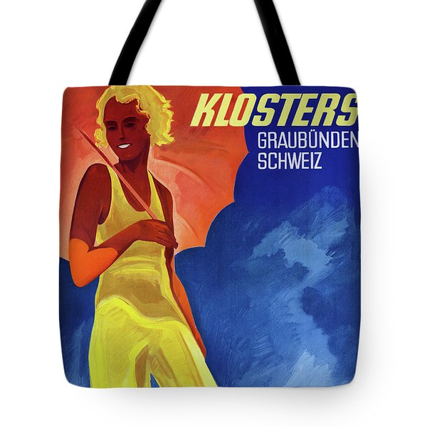 Switzerland Graubuenden Vintage Poster Restored Tote Bag by Carsten Reisinger