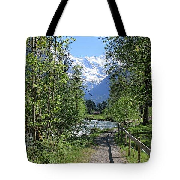 Switzerland, Lauterbrunnen Valley In Spring Tote Bag