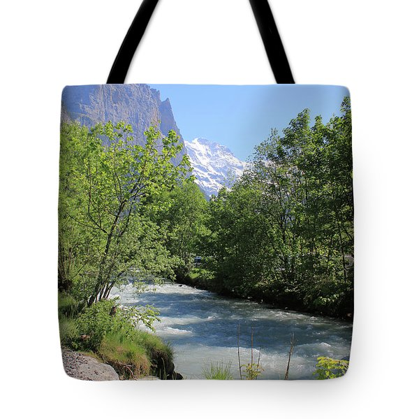 Switzerland Valley With Alps And River In Spring Tote Bag