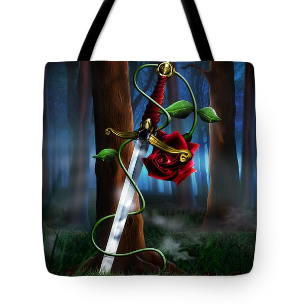 Sword And Rose Tote Bag